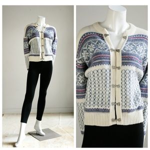 Vintage Wool Scottish Sweater | Wool Blue White